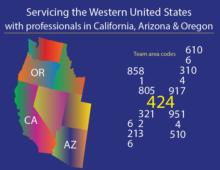 Area Codes - Servicing the Western United States with professionals in California, Arizona & Oregon